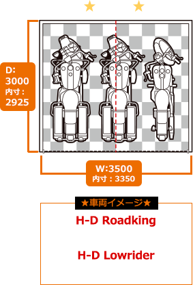D-styleガレージ バイク3台用参考サイズ表